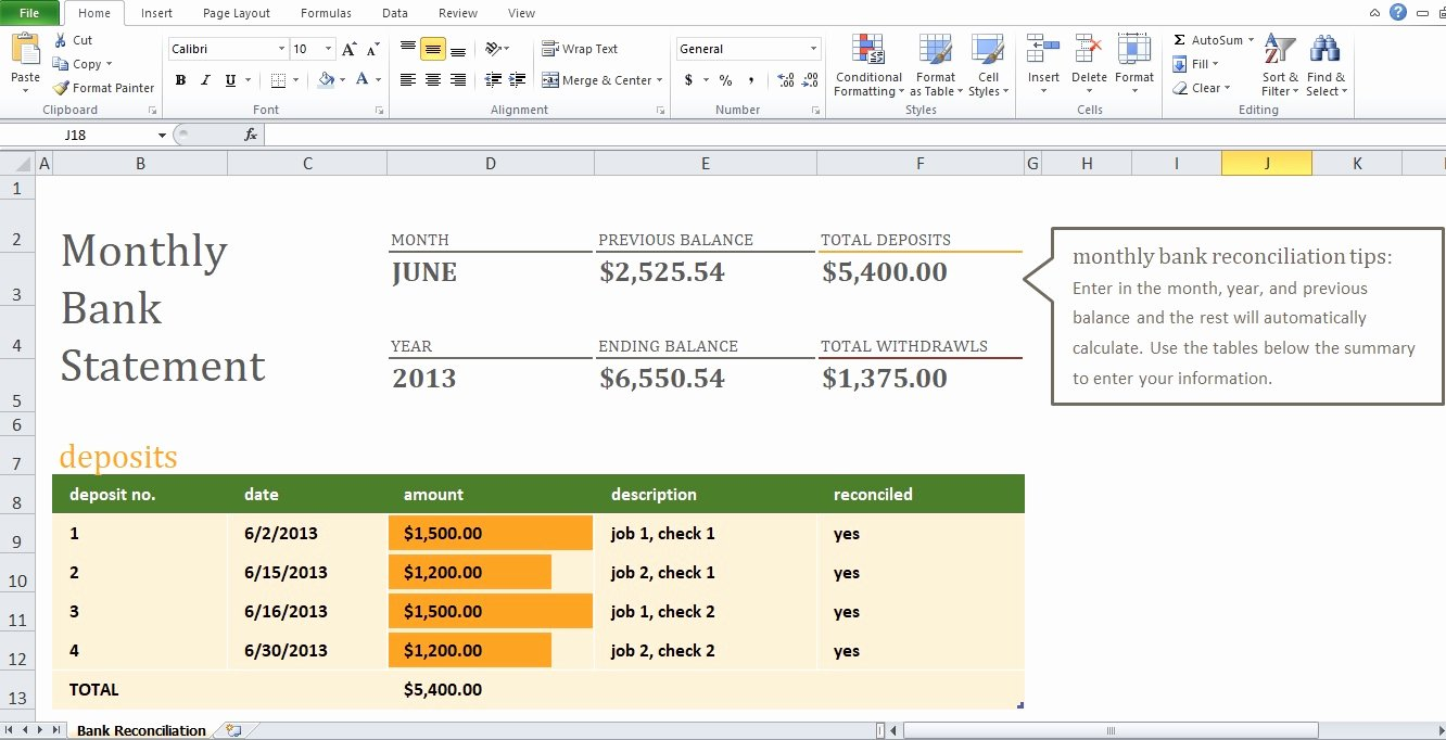 Bank Reconciliation Excel Template Elegant Example Of Monthly Bank Reconciliation Statement Template