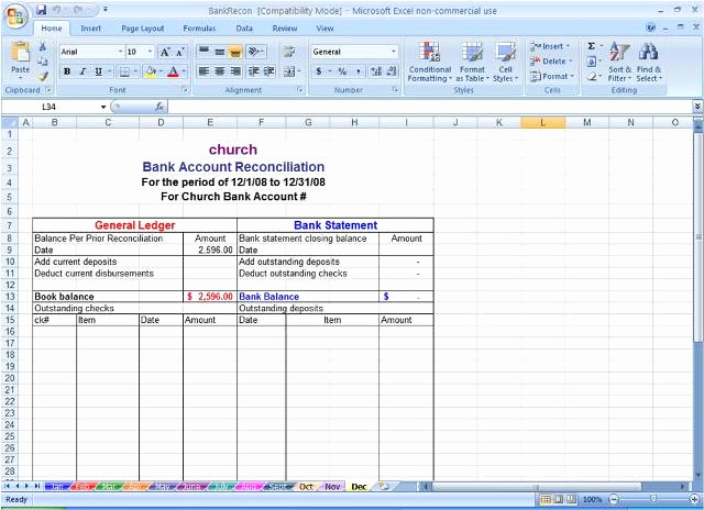 Bank Reconciliation Excel Template Elegant Sample Bank Reconciliation Statement format