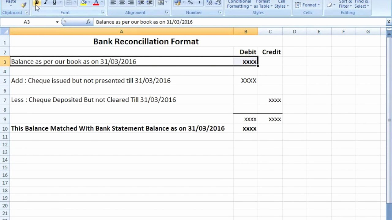 Bank Reconciliation Excel Template Fresh Bank Reconciliation Statement format In Excel after Seen