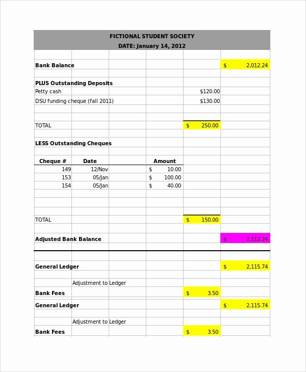 Bank Reconciliation Excel Template Lovely 7 Bank Reconciliation Examples