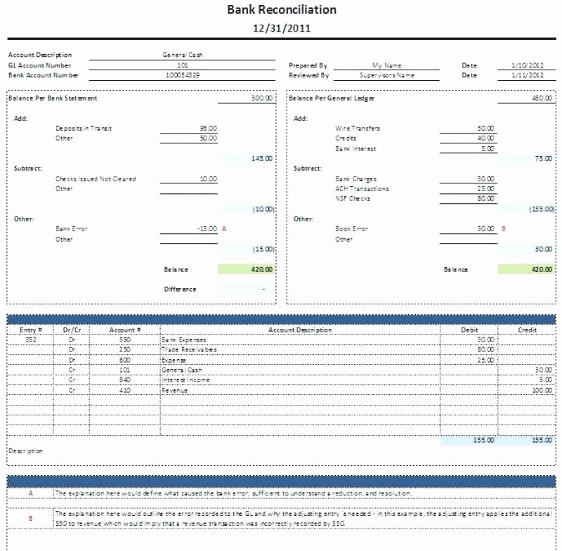 Bank Reconciliation Excel Template Luxury Bank Reconciliation Excel Checking Account Balance Sheet