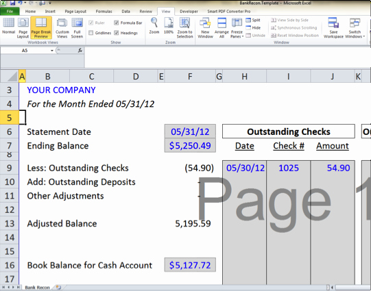 Bank Reconciliation Excel Template Luxury Bank Reconciliation Template 5 Easy Steps to Balance Your