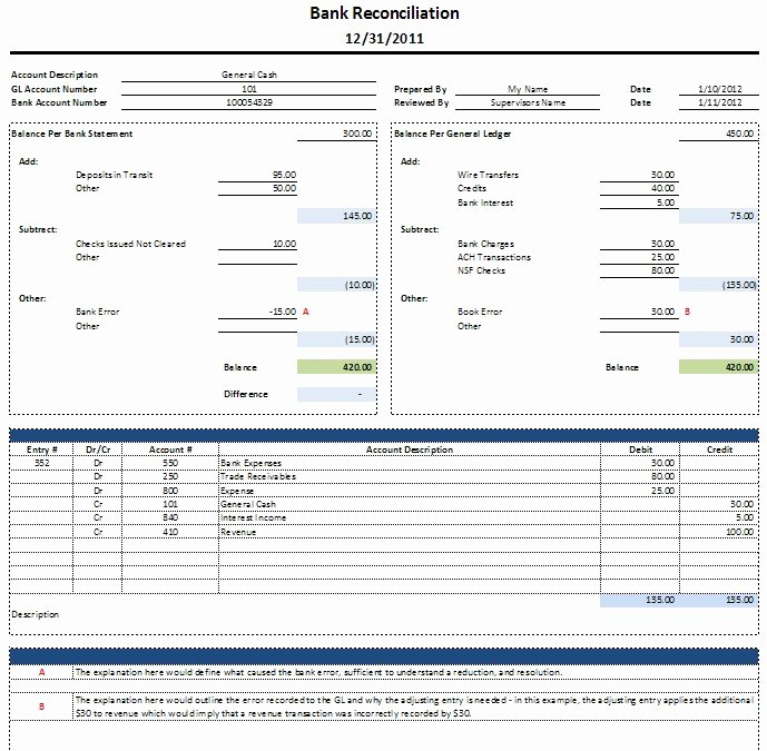 Bank Reconciliation Template Excel Awesome Bank Reconciliation Template