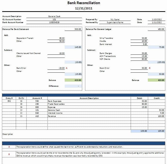 Bank Reconciliation Template Excel Best Of Free Excel Bank Reconciliation Template Download