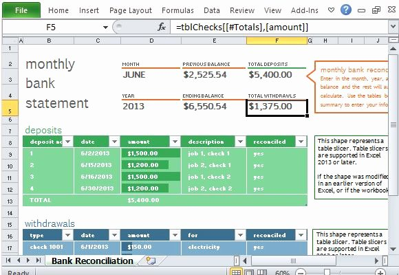 Bank Reconciliation Template Excel Elegant Monthly Bank Reconciliation Template for Excel