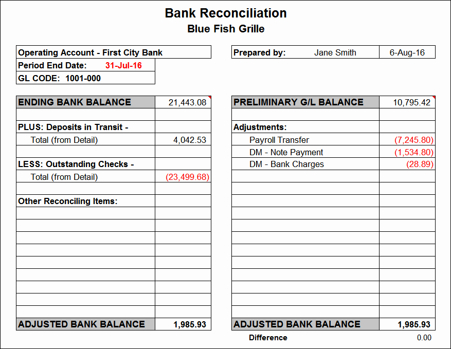 Bank Reconciliation Template Excel New Bank Reconciliation Template