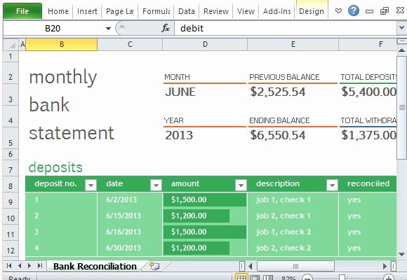 Bank Reconciliation Template Excel New Monthly Bank Reconciliation Template for Excel