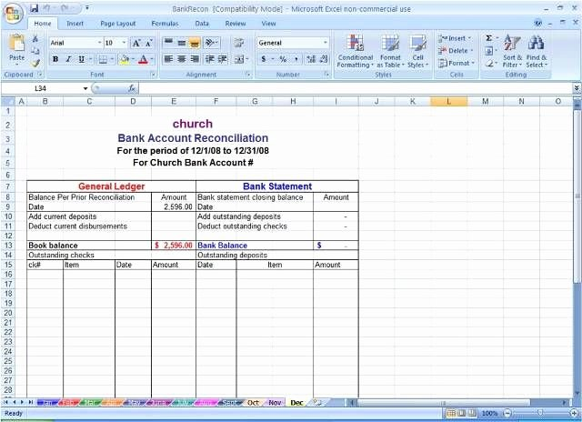 Bank Reconciliation Template Excel Unique Sample Bank Reconciliation Statement format