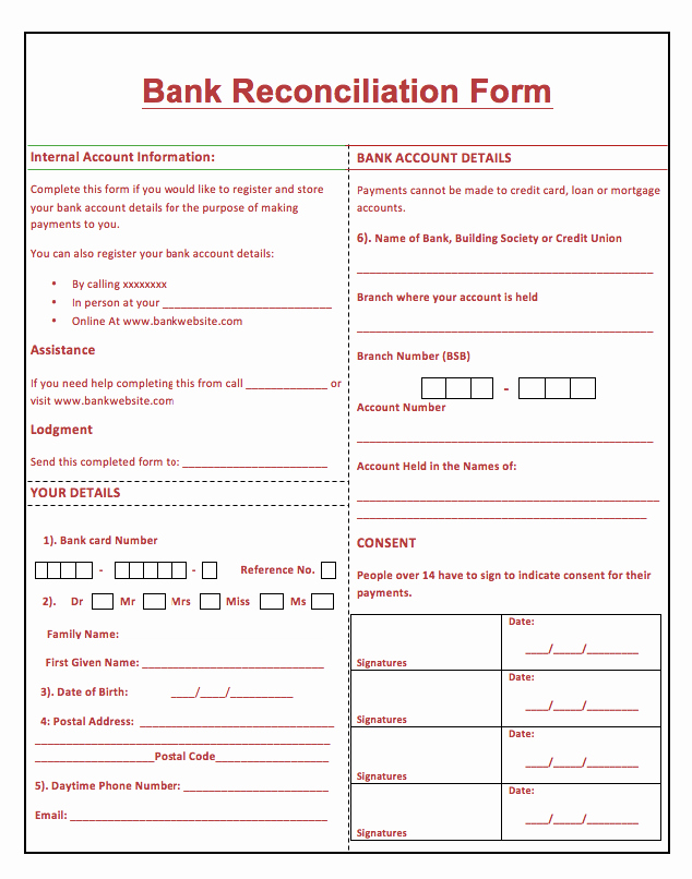 Bank Statement Reconciliation Template Elegant Bank Reconciliation Template