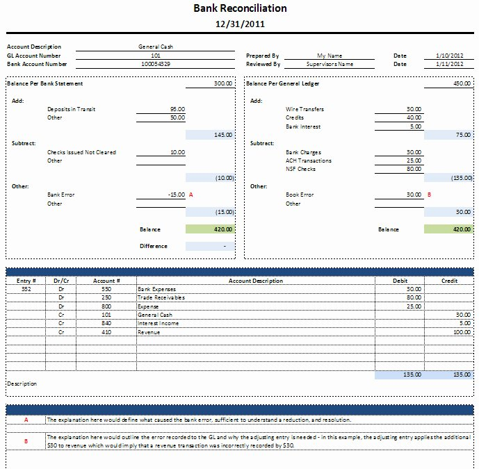 Bank Statement Reconciliation Template Elegant Bank Statement Template