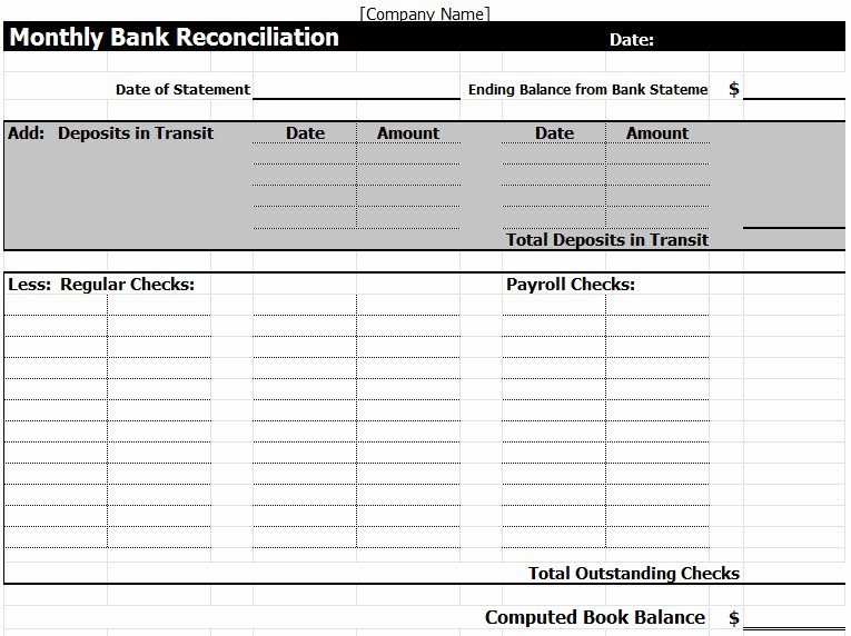 Bank Statement Reconciliation Template New Bank Reconciliation Template