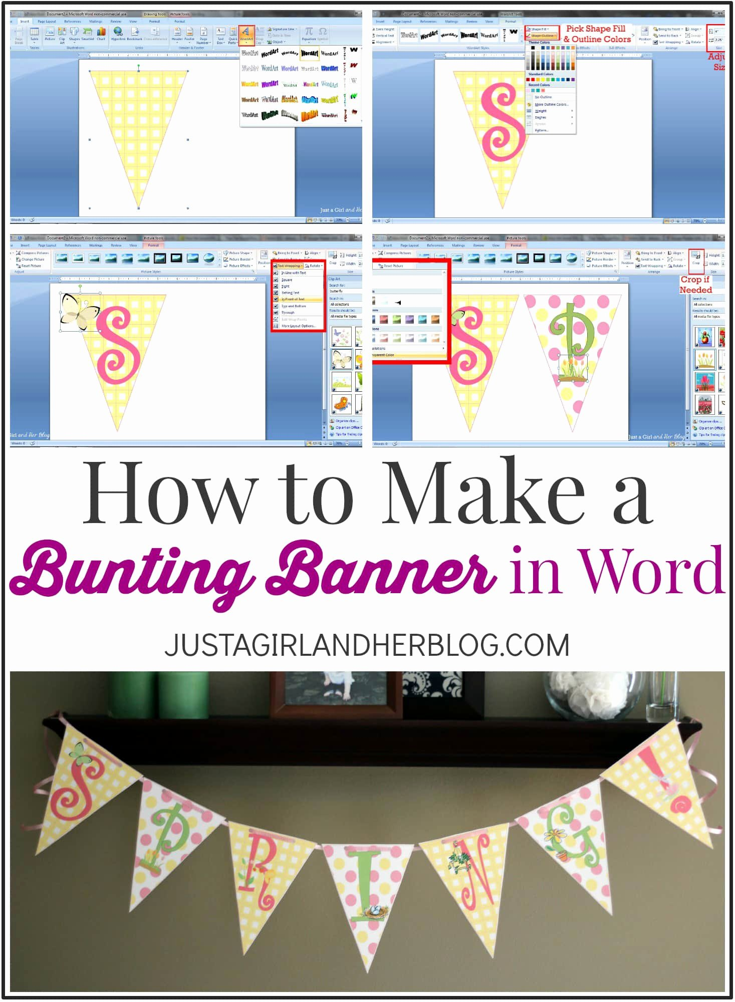 Banner Template for Word Best Of How to Make A Bunting Banner In Word with Clip Art Tips