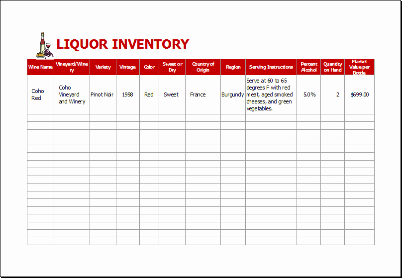 Bar Inventory Spreadsheet Template Inspirational Liquor Inventory Sheet Template for Excel