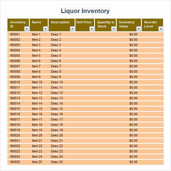 Bar Inventory Spreadsheet Template Lovely 9 Sample Liquor Inventory Templates to Download