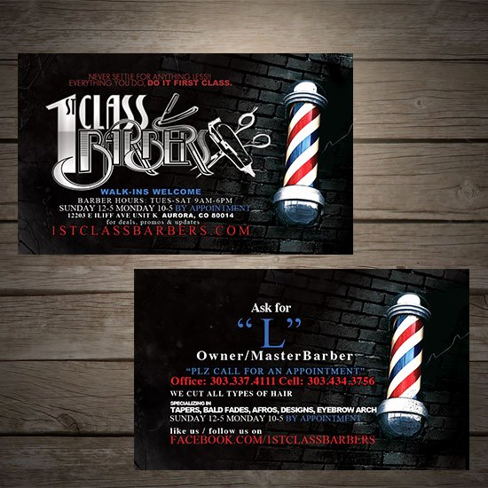 Barber Business Card Template Best Of 1st Class Barbers Denver Print Pany