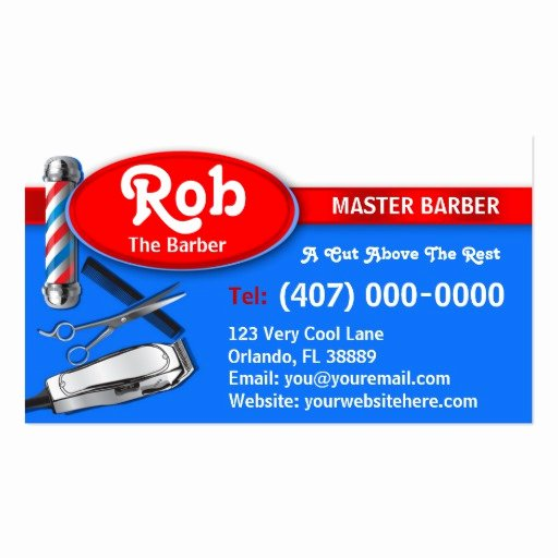 Barber Business Card Template Lovely Barber Business Card Barber Pole and Clippers Business