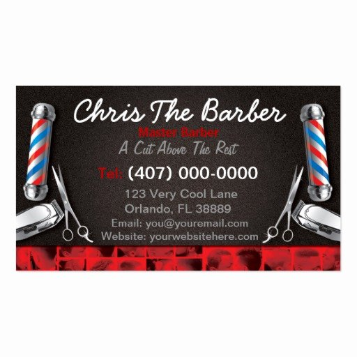 Barber Business Card Template Luxury Barbershop Business Card Barber Pole and Clippers