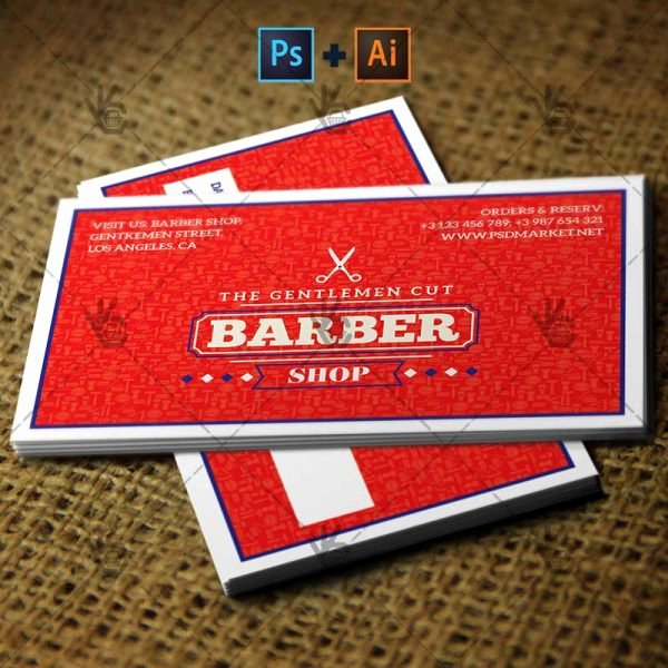 Barber Business Card Template New Barber Shop Premium Business Card Psd Ai Template