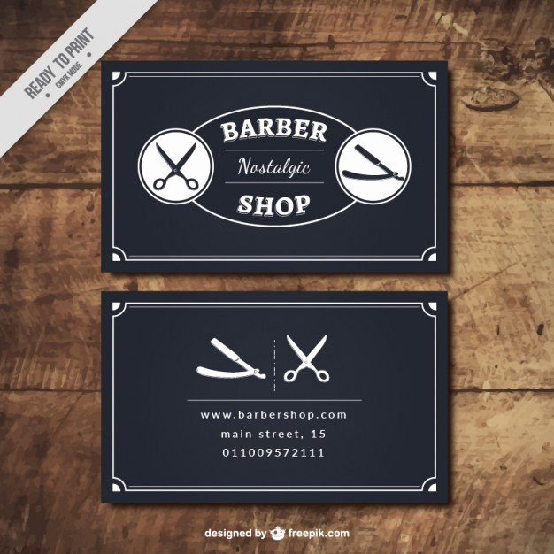Barber Business Card Template Unique Black Barber Shop Cards Vector