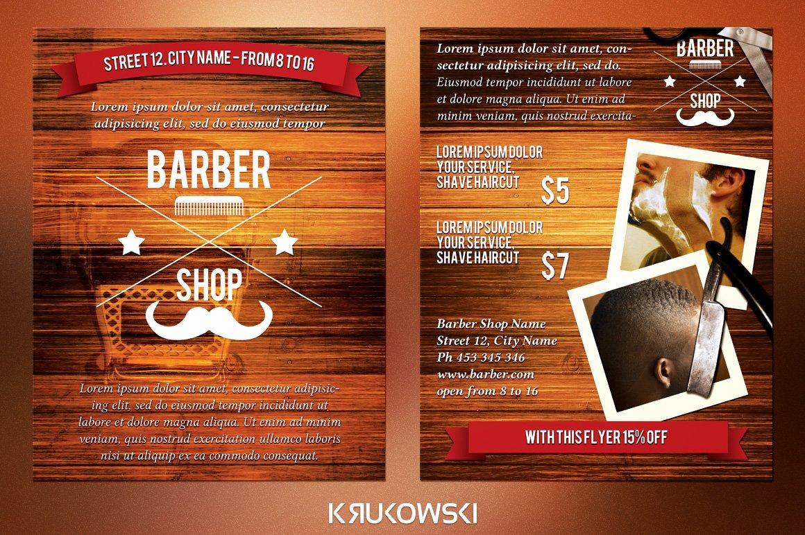 Barber Shop Flyers Template Awesome Barber Shop 2 Sided Flyer Flyer Templates Creative Market