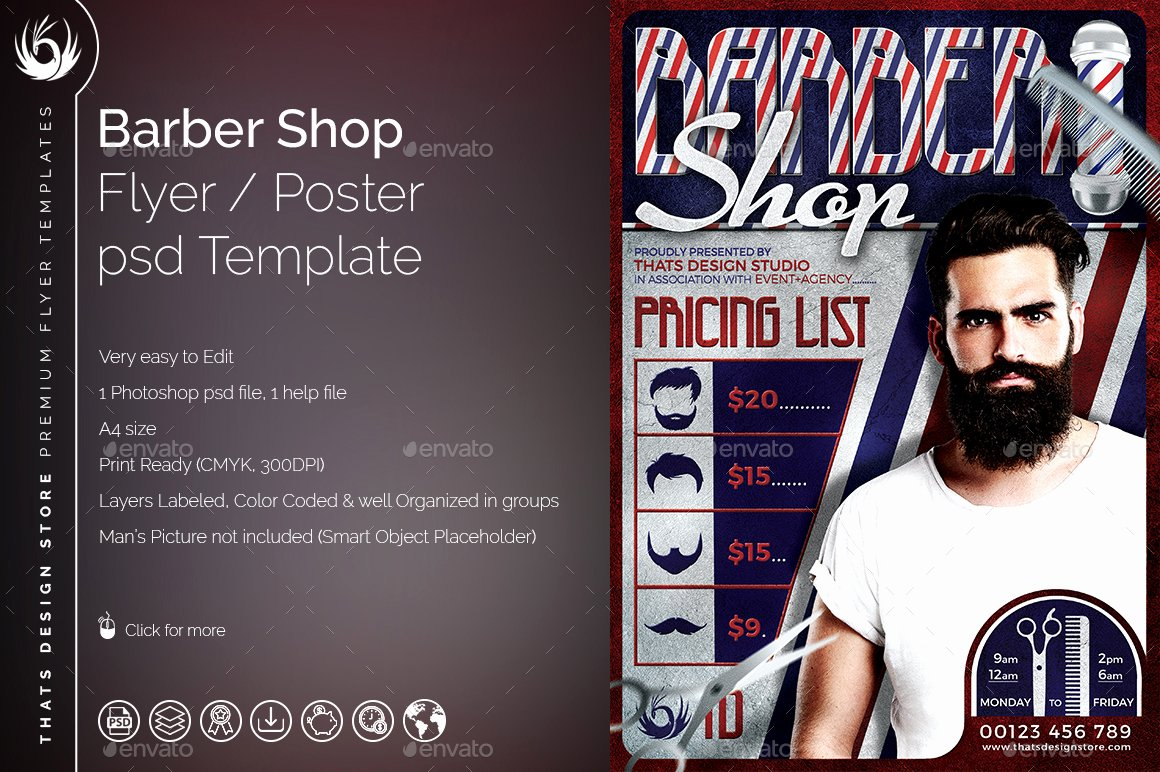 Barber Shop Flyers Template Awesome Barber Shop Flyer Template by Lou606