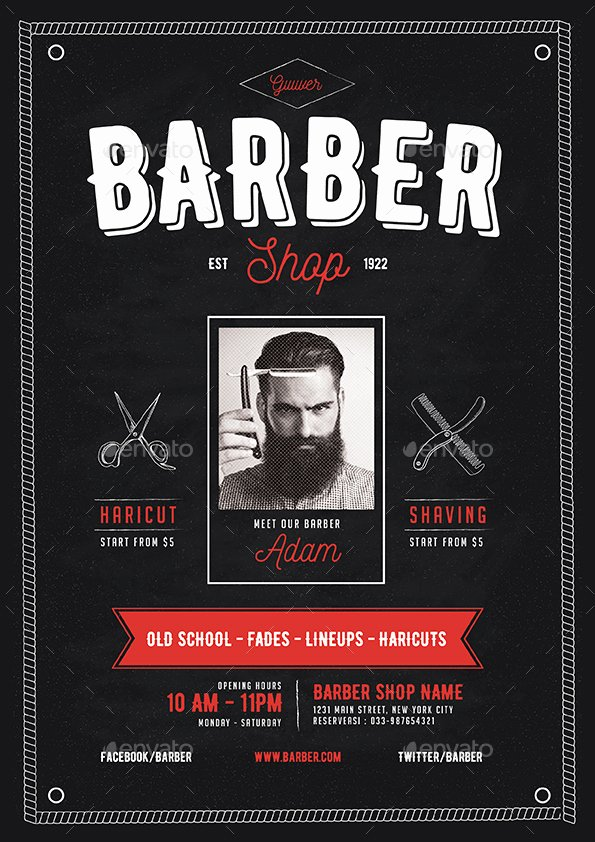 Barber Shop Flyers Template Luxury Barber Shop Flyer by Guuver