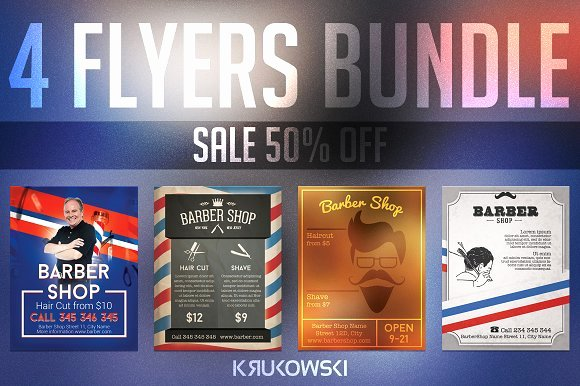 Barber Shop Flyers Template New Barber Shop Flyers Bundle Templates Creative Market