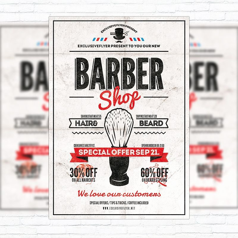 Barber Shop Flyers Template Unique Barber Shop Vol 2 Premium Flyer Template