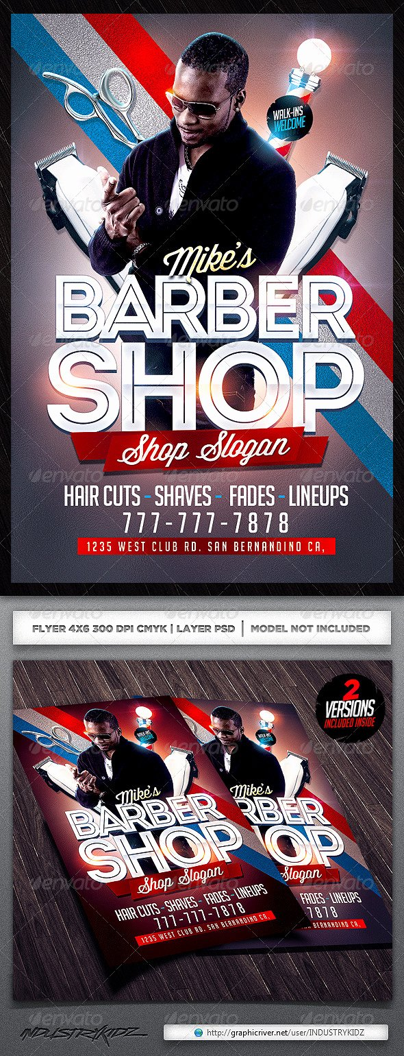 Barber Shop Flyers Template Unique Barbershop Flyer Template by Industrykidz