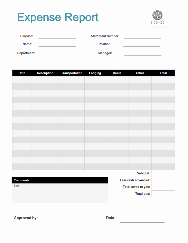 Basic Expense Report Template Awesome Expense Report form