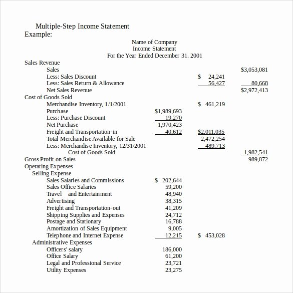 Basic Income Statement Template Beautiful 13 In E Statements – Samples Examples & format