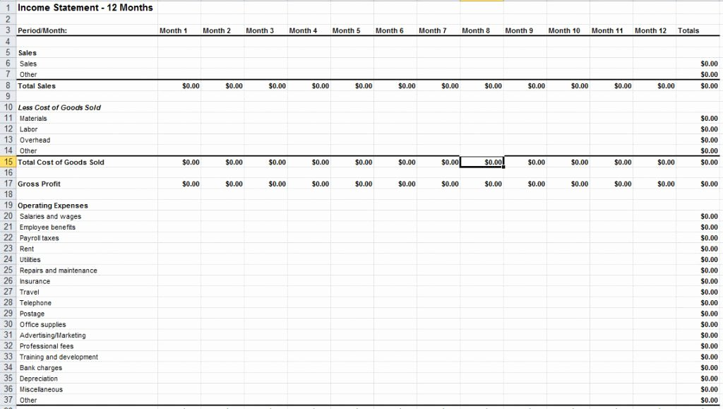 Basic Income Statement Template Beautiful Basic In E Statement Template Excel Spreadsheet