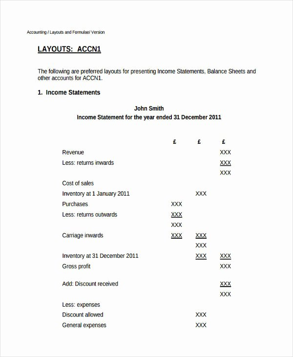 Basic Income Statement Template Best Of 50 Examples Of In E Statement