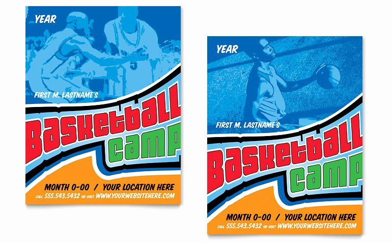 Basketball Camp Flyer Template Beautiful Basketball Sports Camp Poster Template Word & Publisher