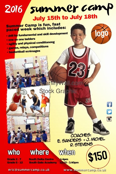 Basketball Camp Flyer Template Best Of Summer Camp Poster Template