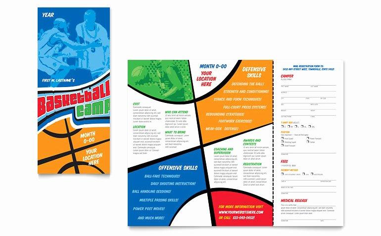 Basketball Camp Flyer Template Inspirational Basketball Sports Camp Brochure Template Word & Publisher