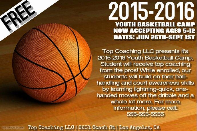Basketball Camp Flyer Template Luxury Basketball Camp Template