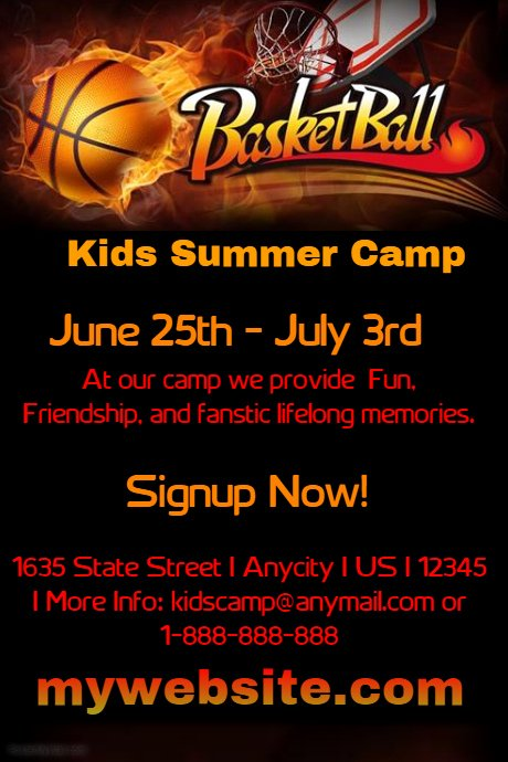 Basketball Camp Flyer Template New Kids Basketball Camp Template