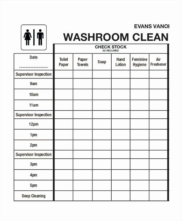 Bathroom Cleaning Checklist Template Awesome Daily Restroom Checklist form Bathroom format In Excel