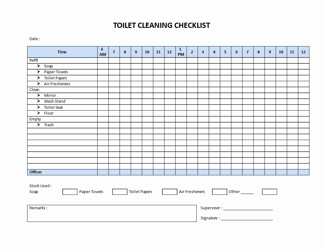 Bathroom Cleaning Checklist Template Awesome Free Restroom Cleaning Checklist Model