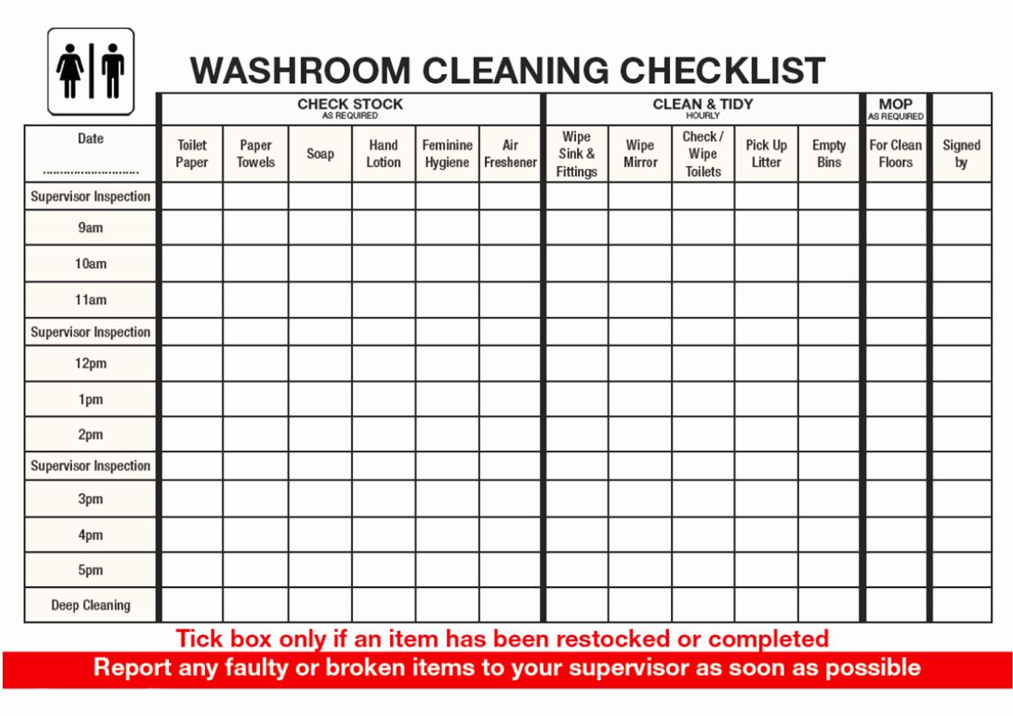 Bathroom Cleaning Checklist Template Elegant Free Checklist for Washroom Cleaning Template