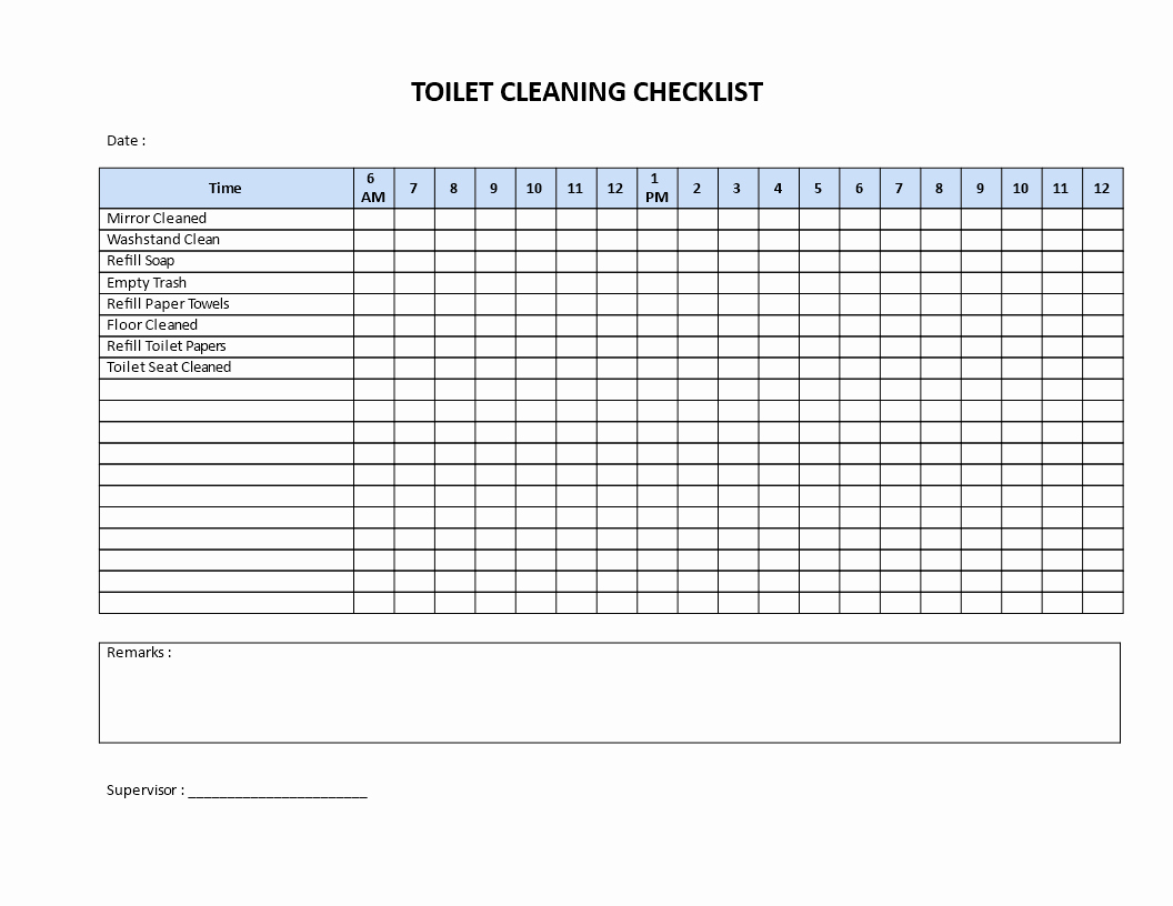 Bathroom Cleaning Checklist Template New toilet Cleaning Checklist Download This Printable toilet