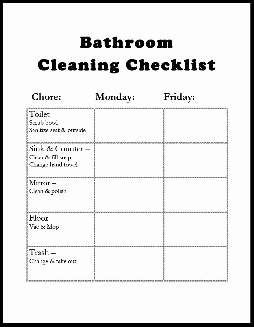 Bathroom Cleaning Schedule Template Awesome Amazing Of Latest Awesome Bathroom Cleaning Checklist Tem