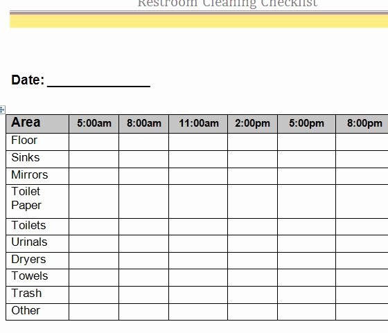 Bathroom Cleaning Schedule Template Awesome Restroom Cleaning Checklist My Excel Templates