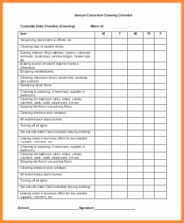 Bathroom Cleaning Schedule Template Elegant Checklist Fice Cleaning List Template Printable