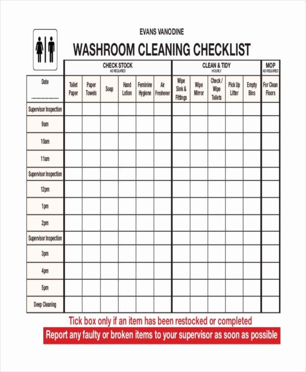 Bathroom Cleaning Schedule Template Fresh 41 Checklist Templates