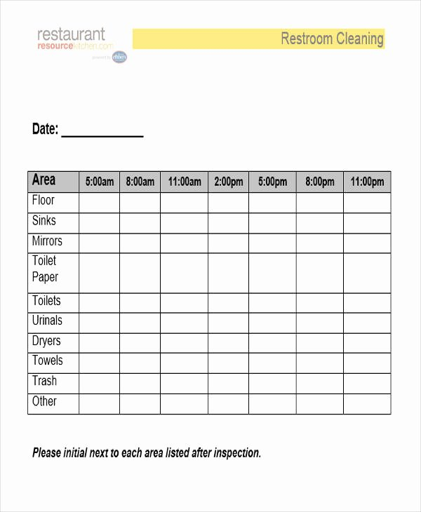 Bathroom Cleaning Schedule Template Fresh Restroom Cleaning Log Template