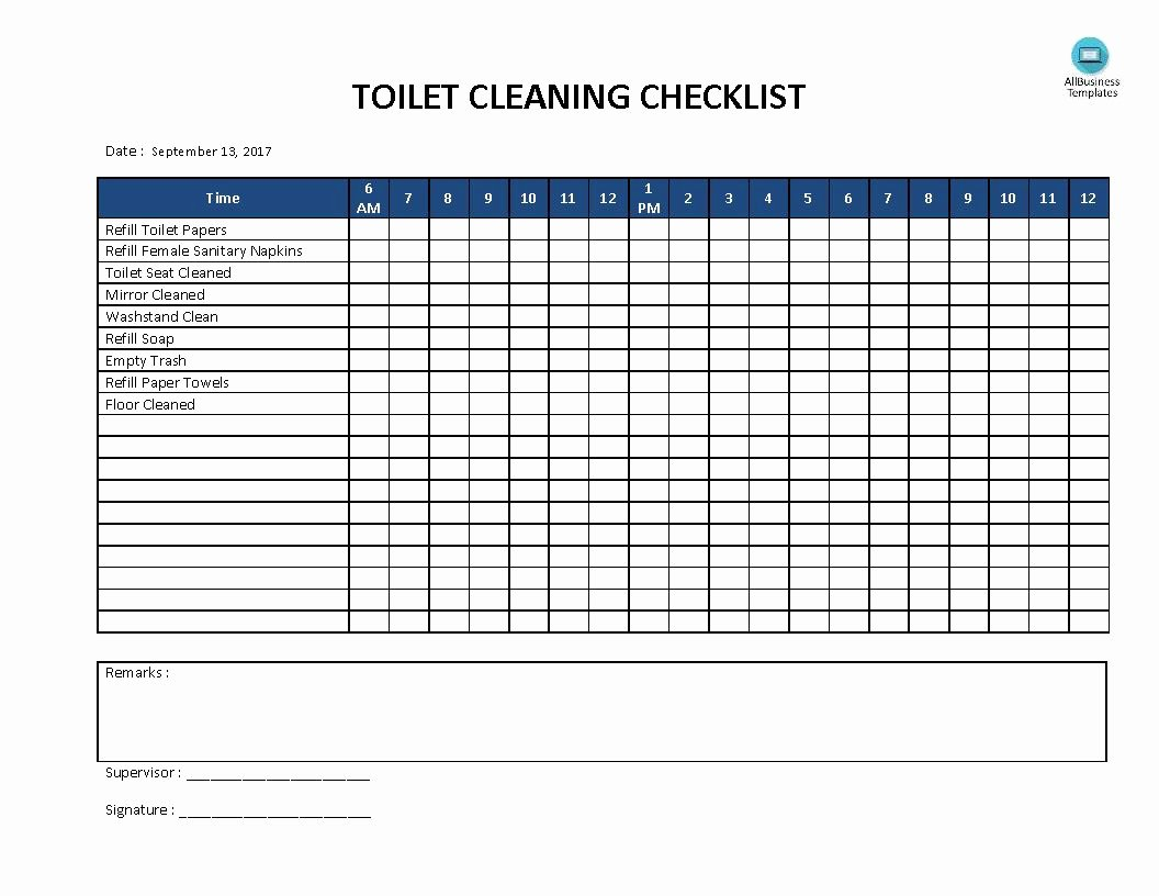Bathroom Cleaning Schedule Template Inspirational Free toilet Cleaning Checklist