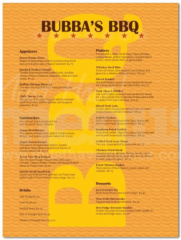 Bbq Catering Menu Template Awesome Barbeque Restaurant Menu Page 1 Restaurant