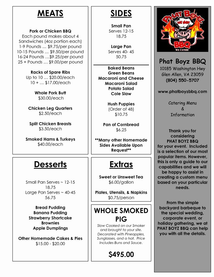 Bbq Catering Menu Template Awesome Best 25 Bbq Catering Ideas On Pinterest